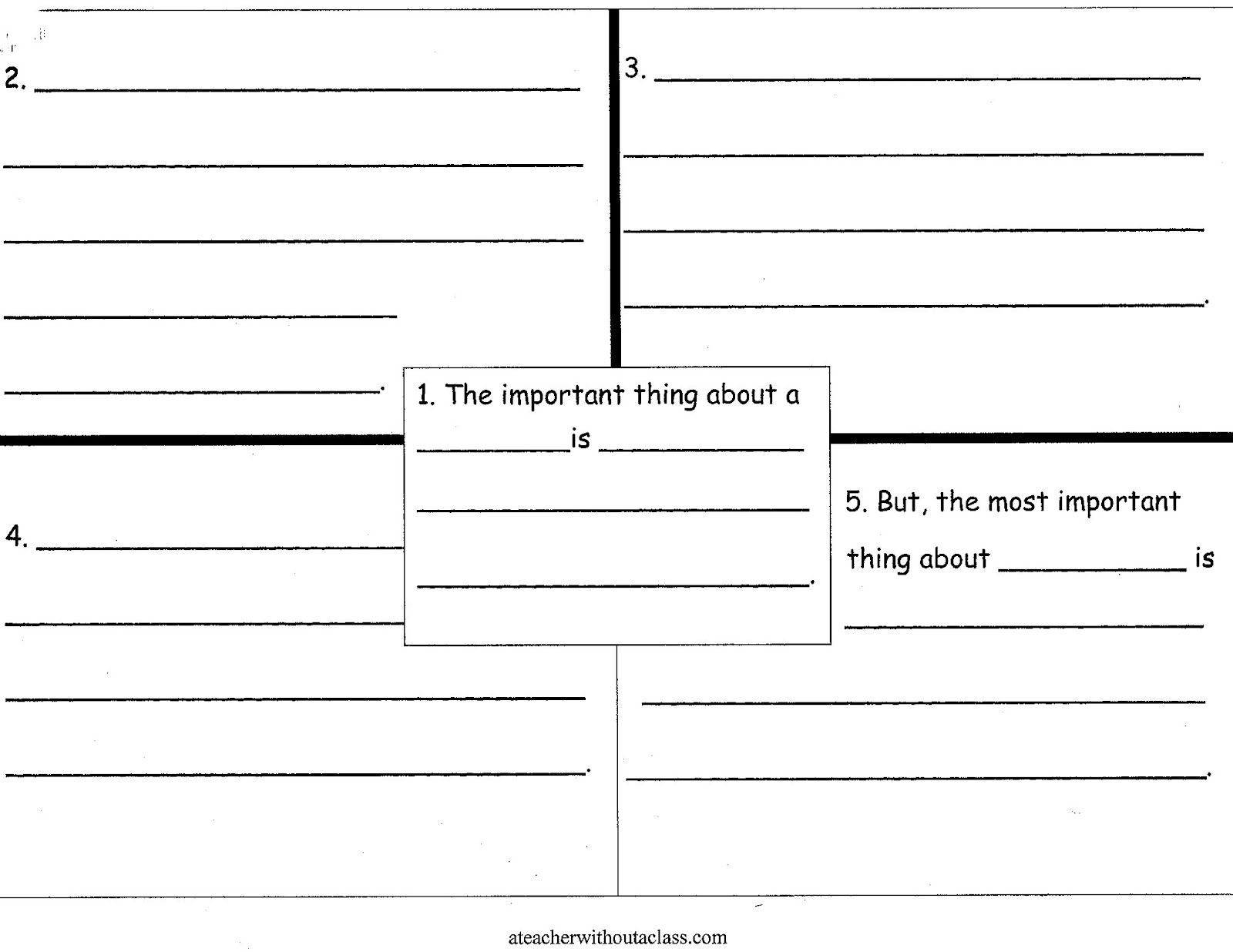 Four Square Writing Templates The Important Book Writing Templates Four Square Writing