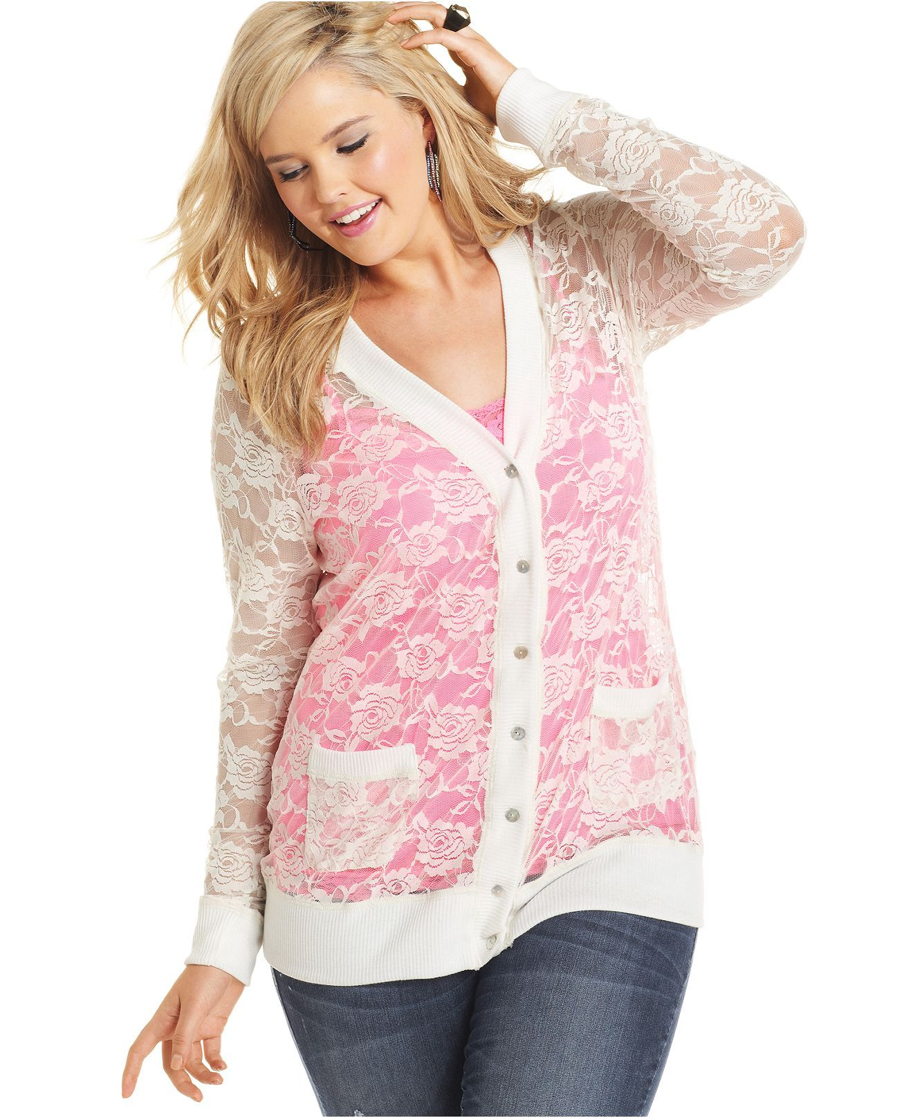 Belle Du Jour Plus Size Cardigan, Long-Sleeve Lace - Plus Size ...