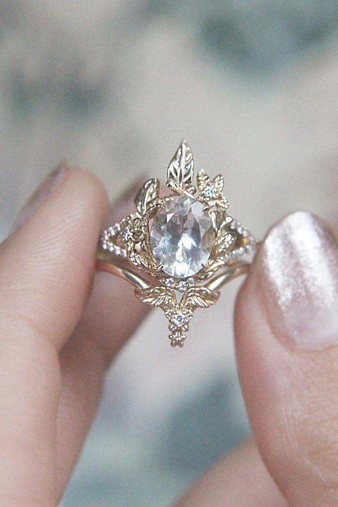 Unique Blue Diamond Engagement Ring Rose Gold Engagement Ring