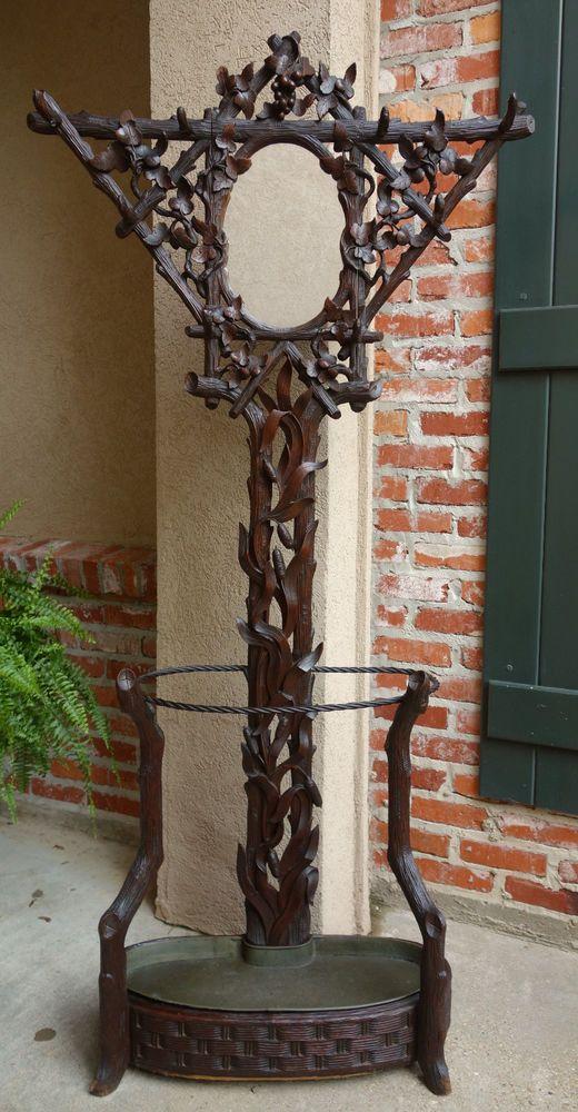 Antique Carved Walnut Black Forest Hall Tree Umbrella