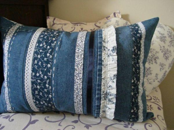 Textilien Kleben Statt Nähen : 50 kissenh llen aus jeans diy kissenbez ge aus recycelten ~ Watch28wear.com Haus und Dekorationen
