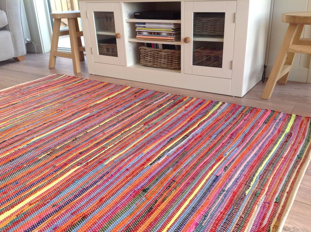 Amazing Recycled Hand Loomed Multi Colour Large Cotton Chindi Rag