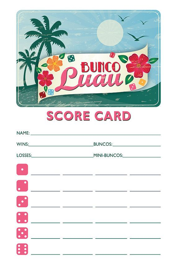 Printable Bunco Scorecard And Table Marker Set Hawaiian Luau