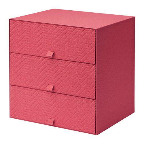 IKEA - PALLRA, Minikommode 3 skuffer, rød, , Hjelper deg med å organisere alt fra papir, USB-enheter og ladere til sminke og tilbehør.Minikommoden har myke plastføtter som hindrer at den sklir og beskytte underlaget mot riper.