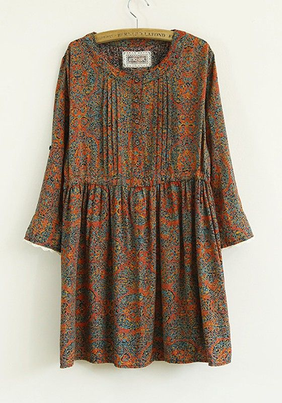 Red Print Pleated Seven's Sleeve Cotton Blend Dress