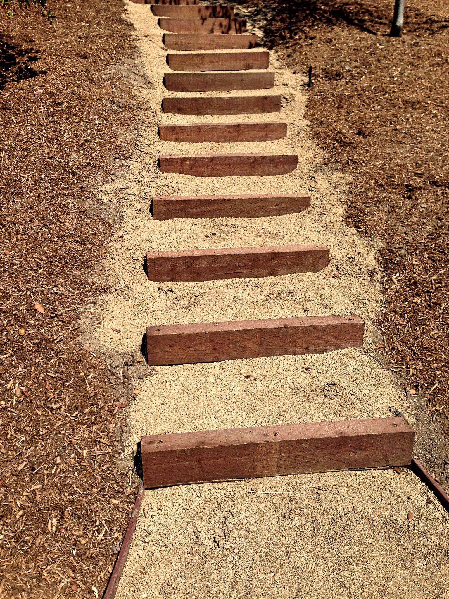 Decomposed granite and landscape timbers | Stairs Steps and Paths ...
