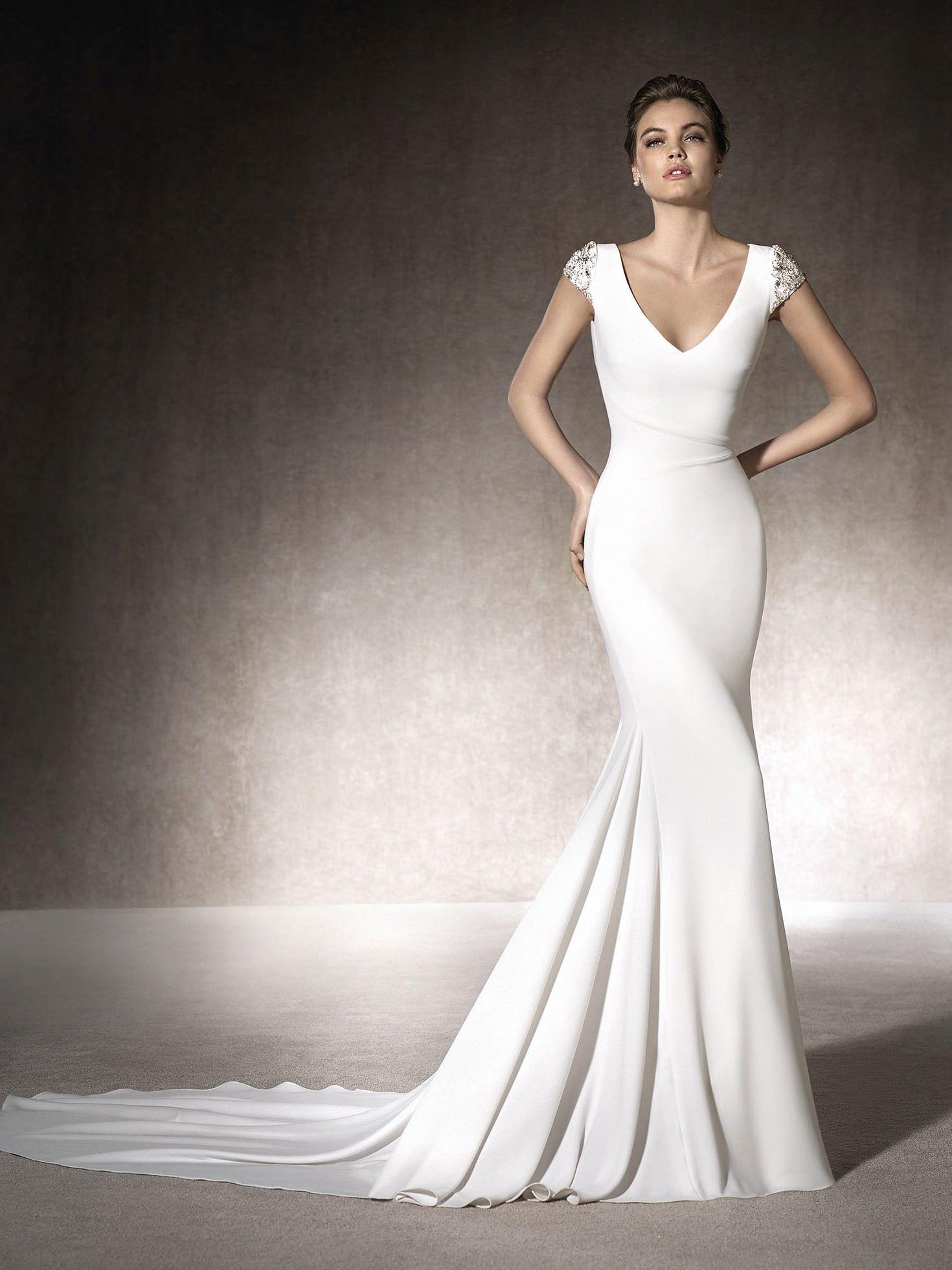 Dress 11 — Front Short sleeve wedding dress, Crepe
