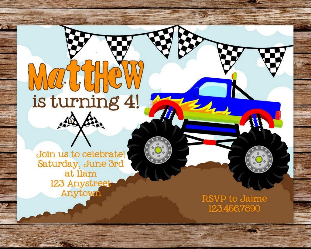 Monster Truck Invitation Monster Truck Birthday Monster Truck