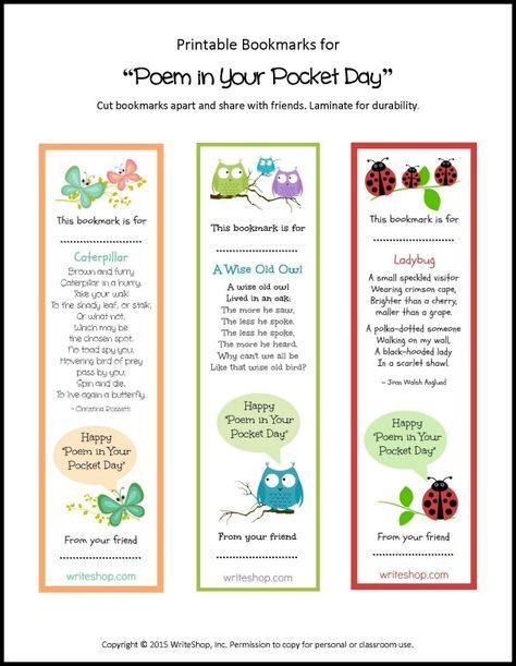 New 7 Poem in Your Pocket Day ideas – and free bookmarks! - WriteShop Short Poems For Kids Today From writeshop.com