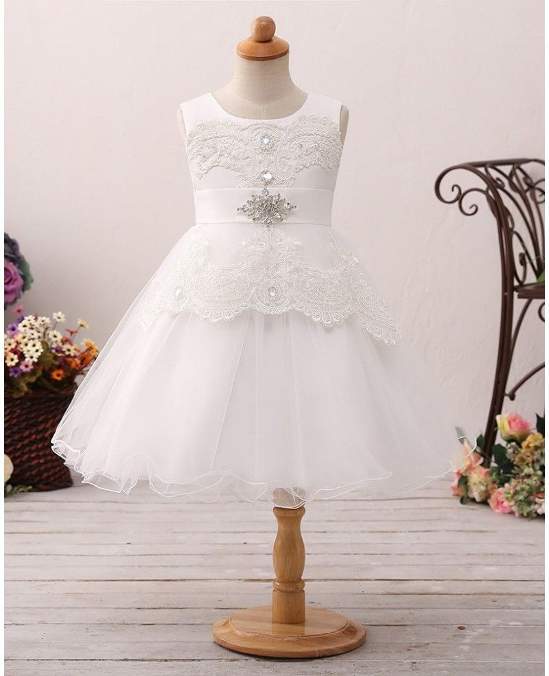 Vintage short tulle lace flower girl dress with crystal sash ht