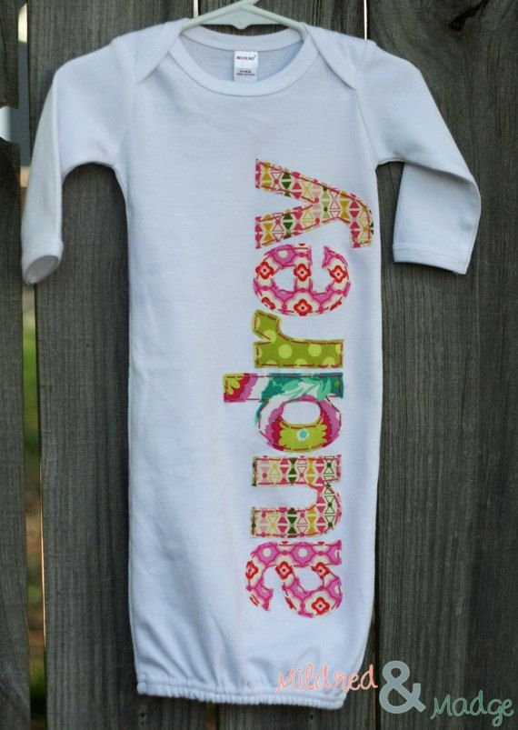 Hand Appliqued Personalized Infant Baby Girl by MildredandMadge, $35.00
