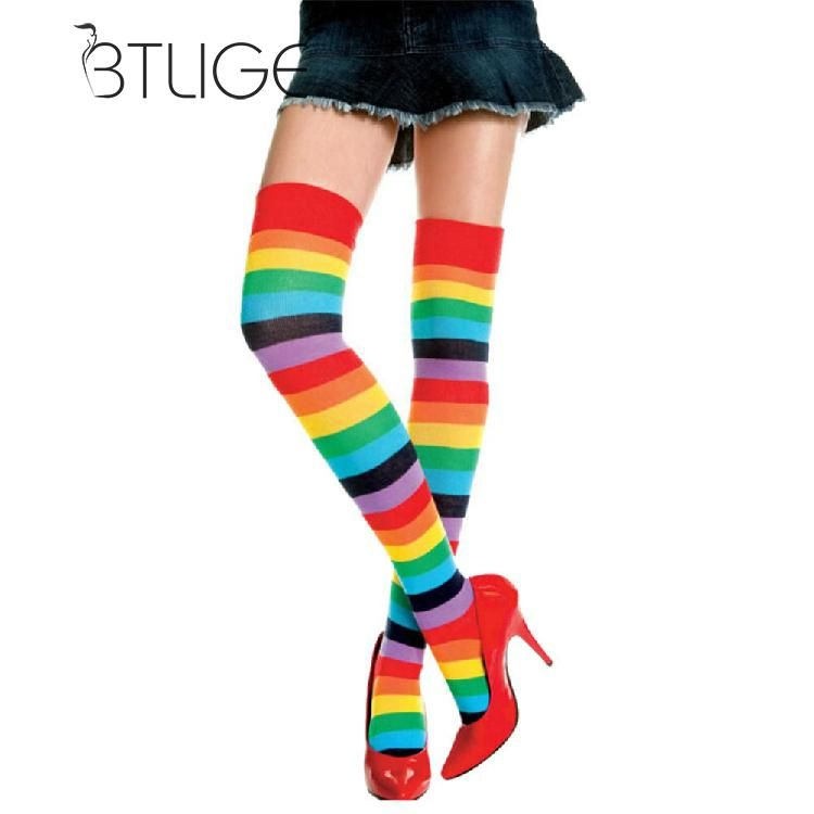 LADIES//WOMENS MULTI COLOURED STRIPED OVER THE KNEE SOCK