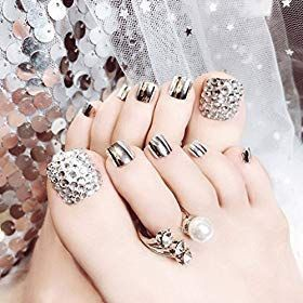 Skyvan Set of 24 False Nail for Toe Chic Exquisite Bling Rhinstones Bridal Fake Nail for Toes... #howtoapplybling False Nail make easy: Easy to apply and remove. Bling nails enough: Unique design, apply for wedding, party...supper charming, elegent and bling. 24 Pcs fake nails: Different size false nail, fits for every women. #howtoapplybling Skyvan Set of 24 False Nail for Toe Chic Exquisite Bling Rhinstones Bridal Fake Nail for Toes... #howtoapplybling False Nail make easy: Easy to apply and r #howtoapplybling