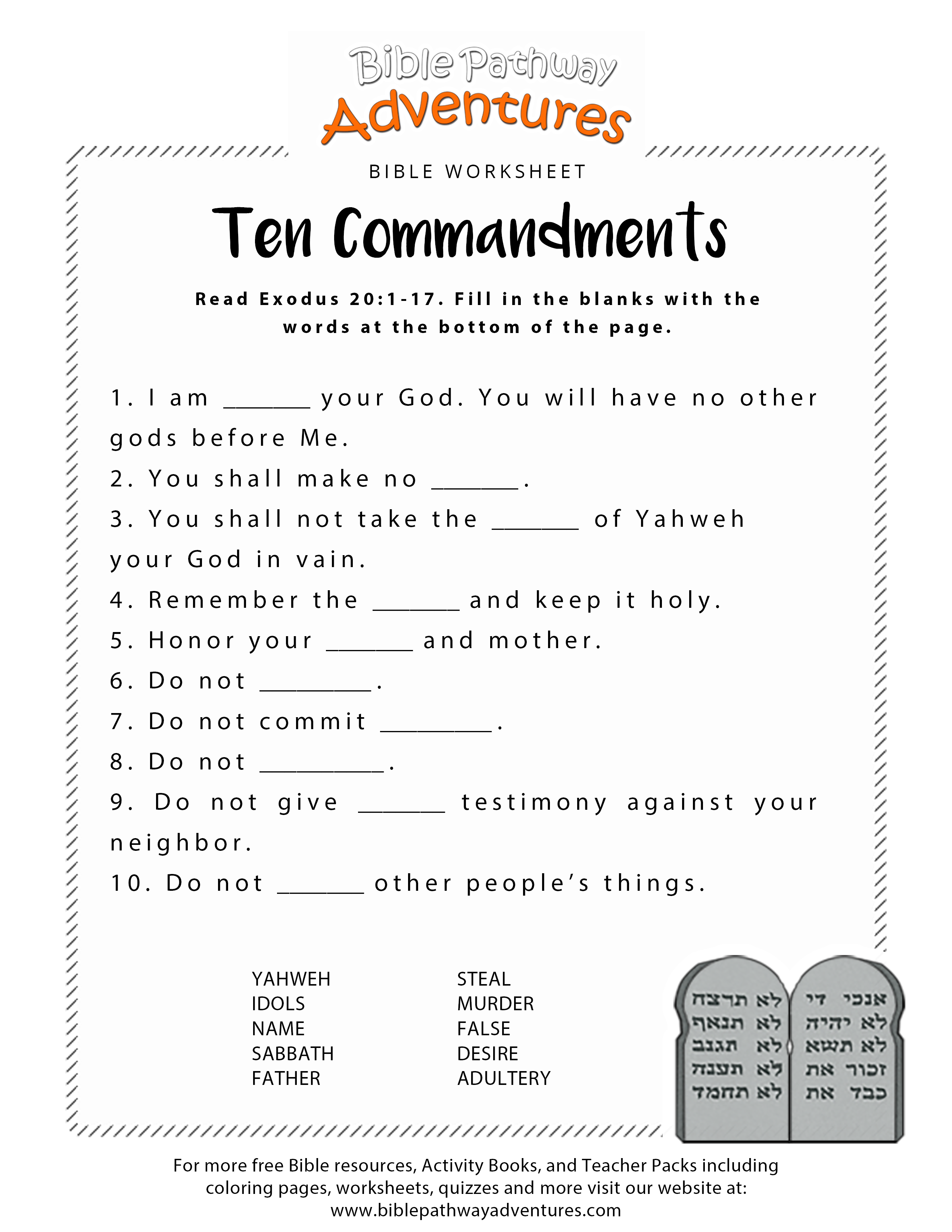 Ten Commandments Worksheet For Kids Free Printable Bible
