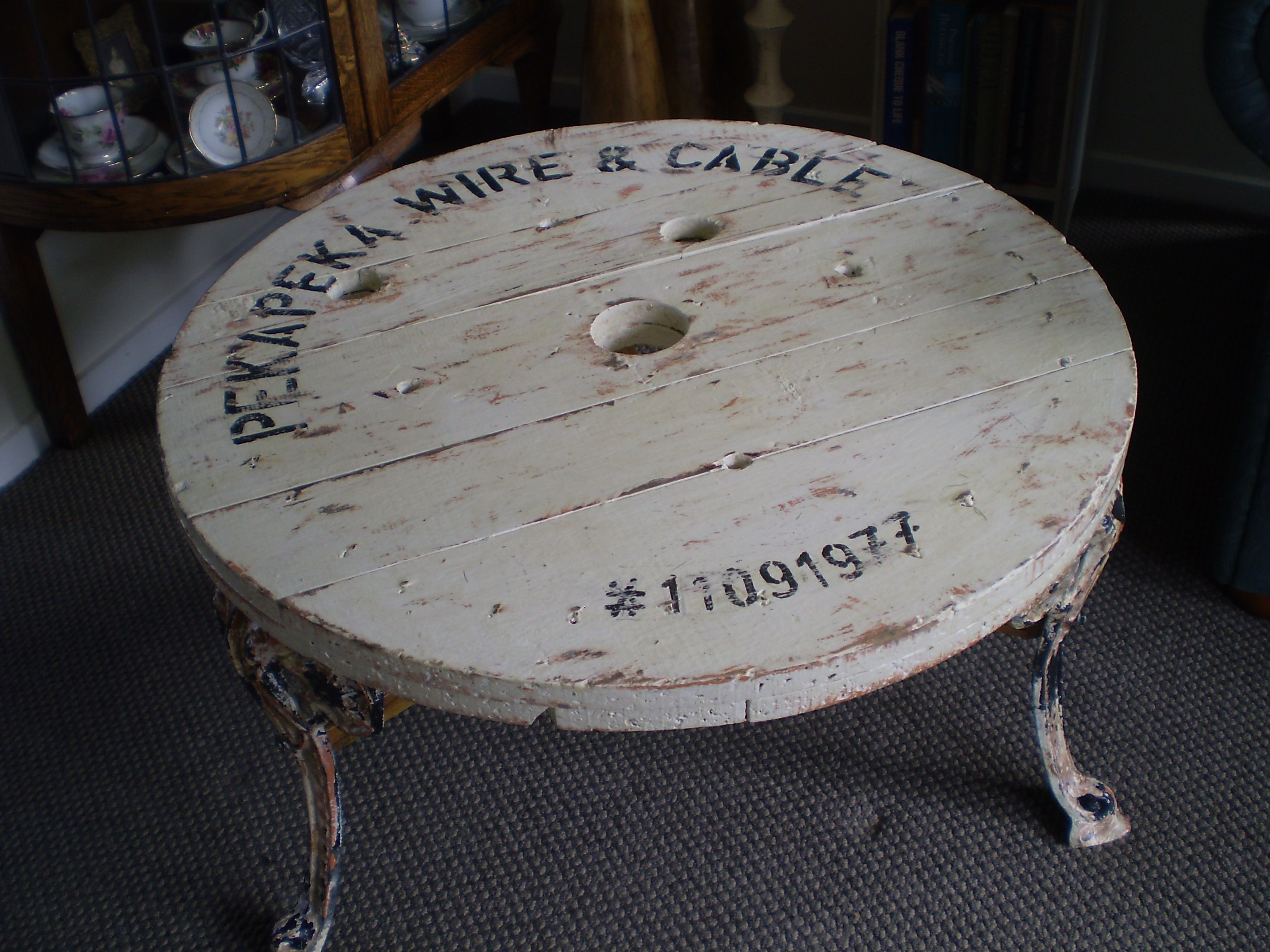 cable reel spool top coffee table with repurposed aluminium outdoor
