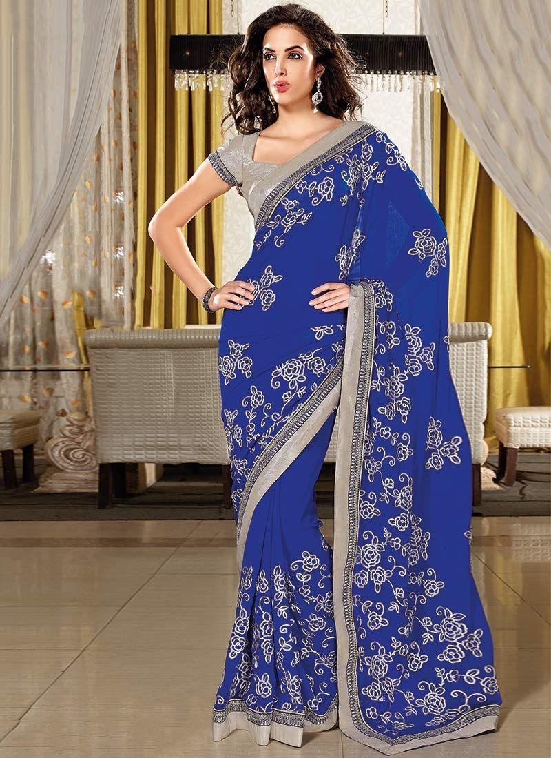 8ee6de5aaf7d Royal Blue Embroidered Chiffon Saree   sarri indien   Party wear ...