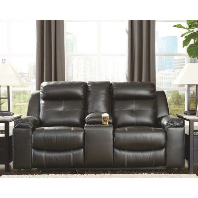 Sensational Kempten Double Reclining Loveseat With Console Black Ncnpc Chair Design For Home Ncnpcorg