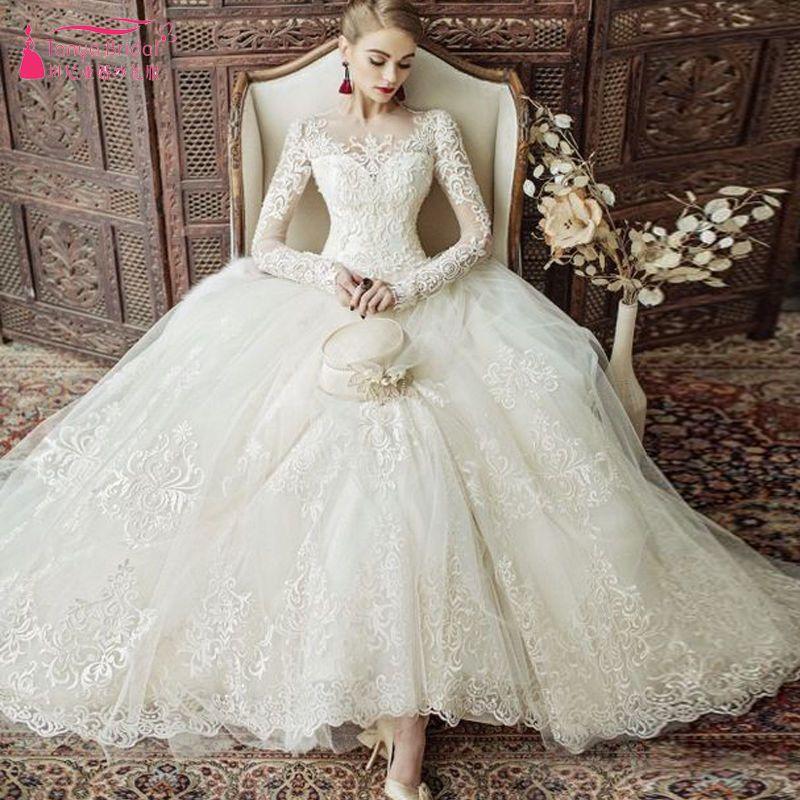 38a958421b Vestido de Novia vestidos de novia de lujo manga larga elegante nuevo Encaje  Personalizado-Hecho