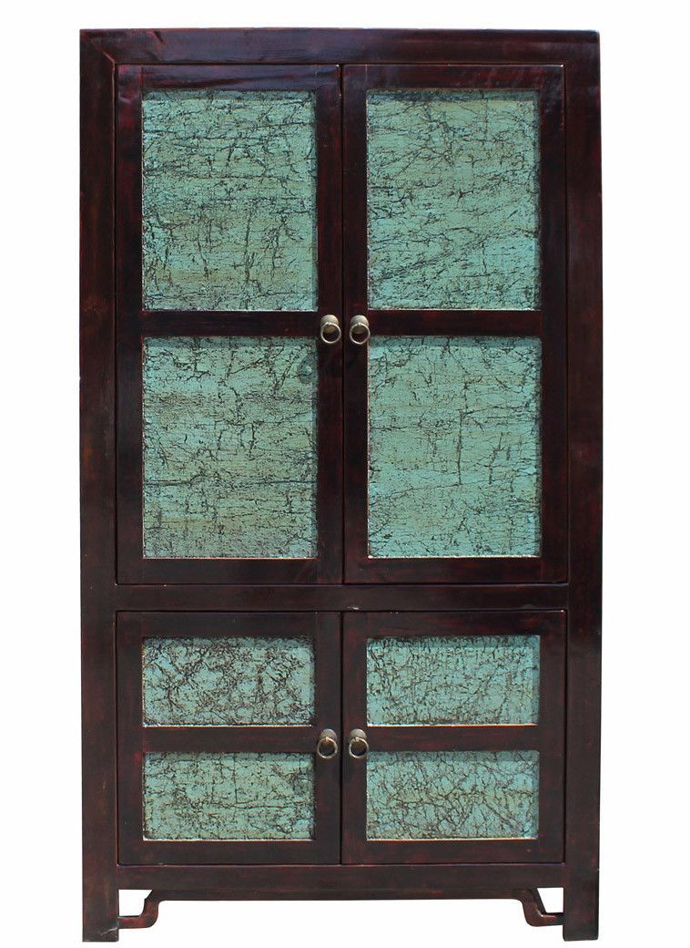 Best Chinese Distressed Turquoise Brown Large Armoire Wardrobe 400 x 300