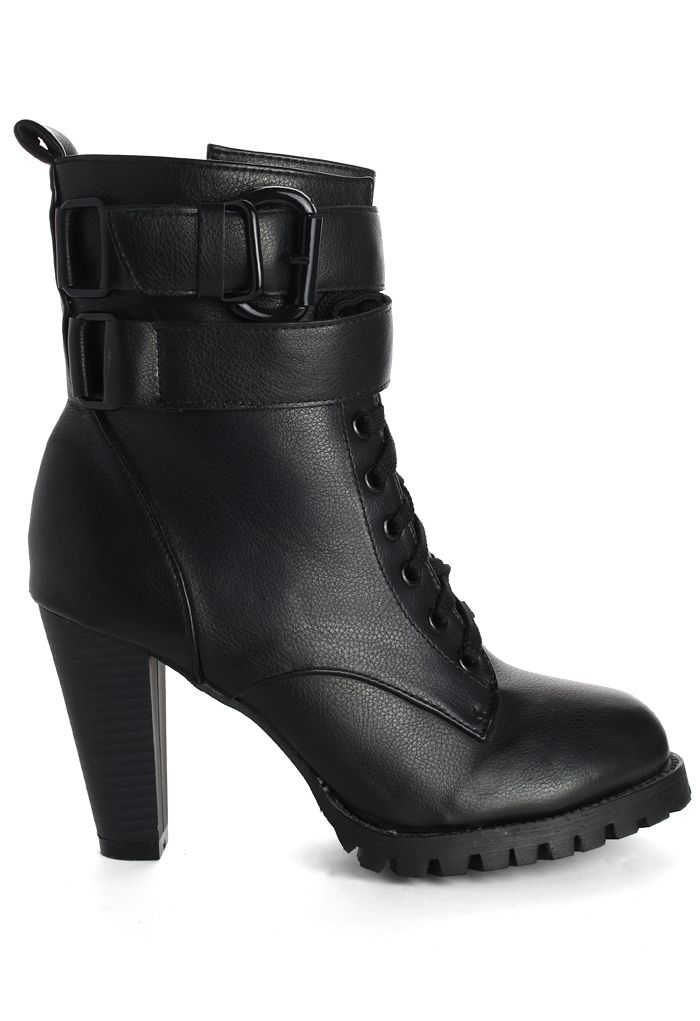 Zip Lace Up Heel Boots in Black - Military Style