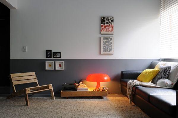 Murs bicolores peindre une moiti pour gagner en for Peindre une armoire en pin