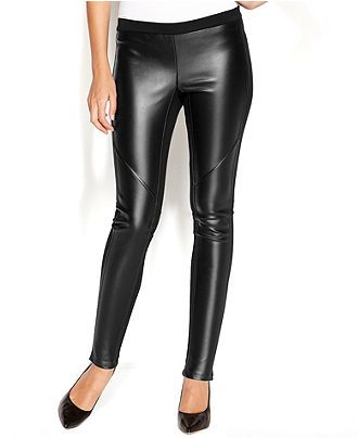 1fa478a03bcfd MICHAEL Michael Kors Pants, Ponte-Knit Faux-Leather Leggings - Pants -  Women - Macy's