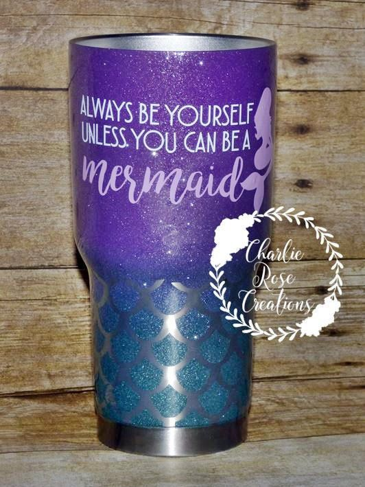 Mermaid Tumbler Custom Tumbler Personalized Rtic Ombre Glitter