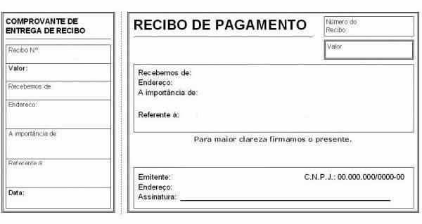 modelo de recibo de pagamento com canhoto teste pinterest