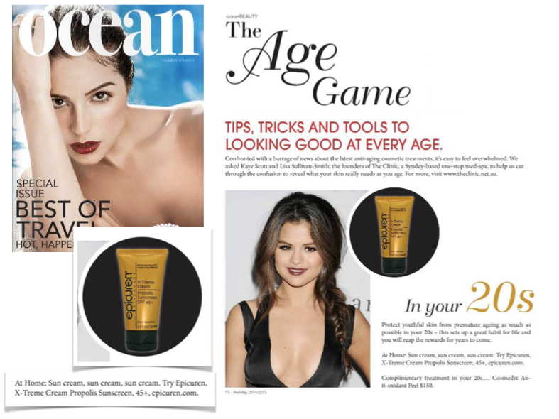 Epicuren was featured in the Holiday 2014/15 issue of Ocean Magazine | The Age Game: Tips, Tricks & Tools To Looking Good At Every Age. In your 20s | page 14. For this full article click here: http://bit.ly/1qFGxVJ