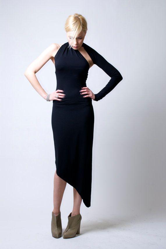 Black One-Shoulder Asymmetric Midi Dress / Midi Dress / marcellamoda Signature Design - LBD - Model 03-A