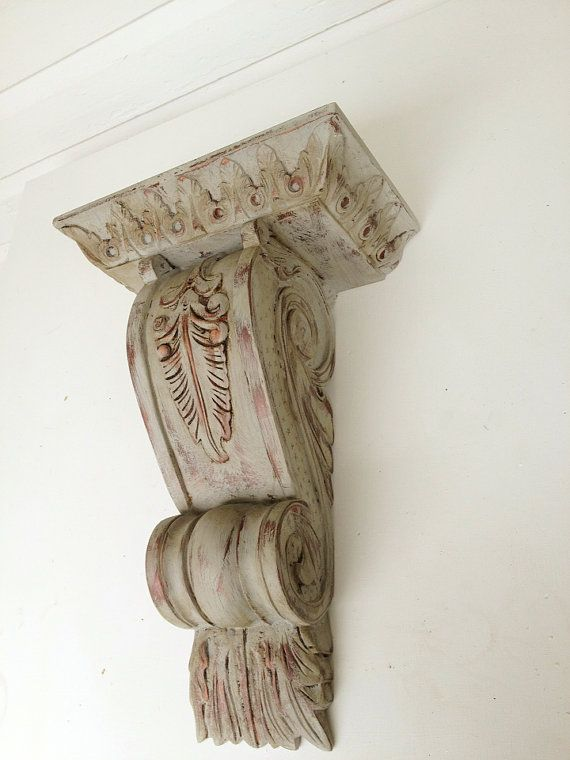 French Provincial Antique Wood Corbel Acanthus Leaf