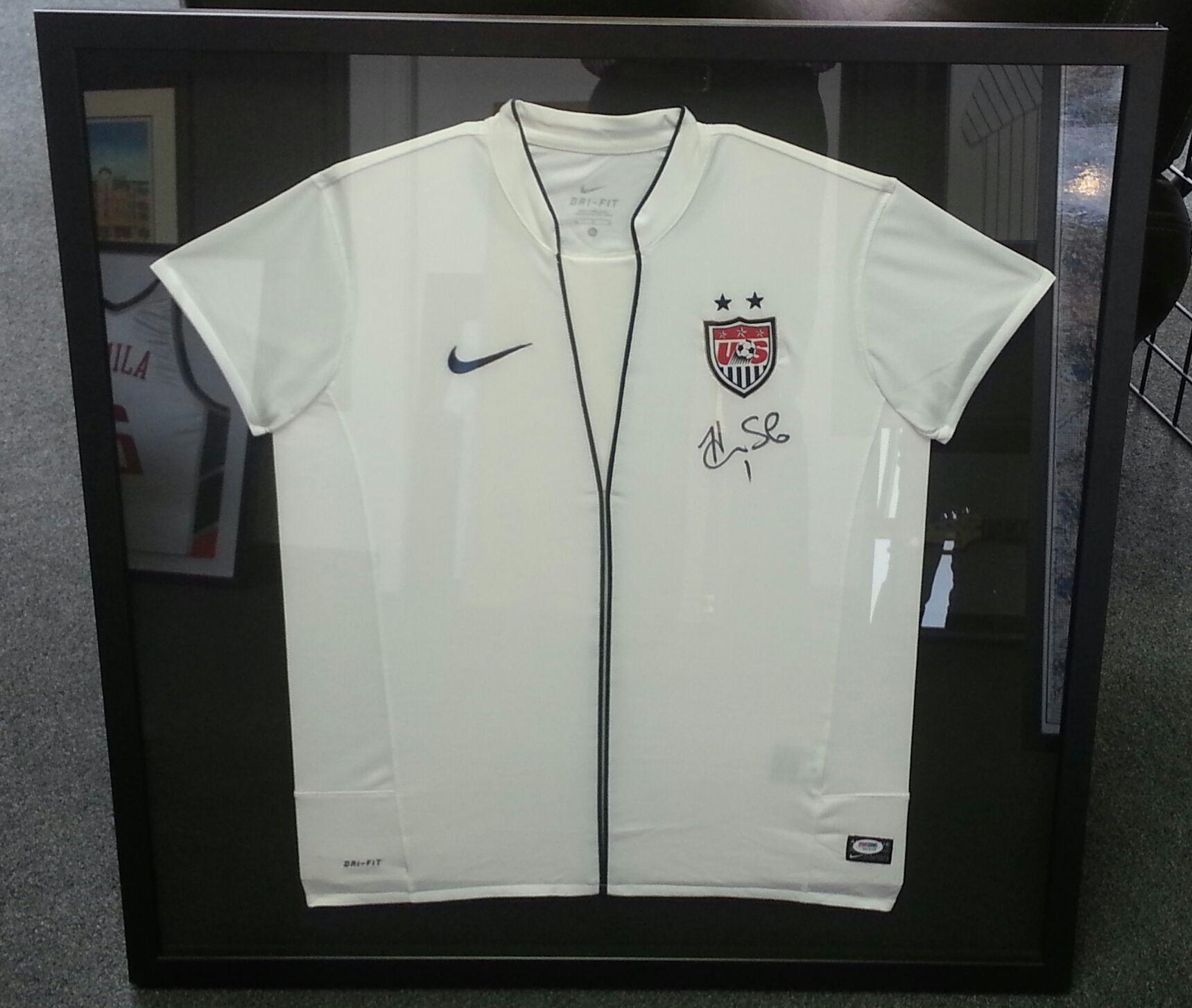 Custom framed soccer jersey by FastFrame of LoDo.