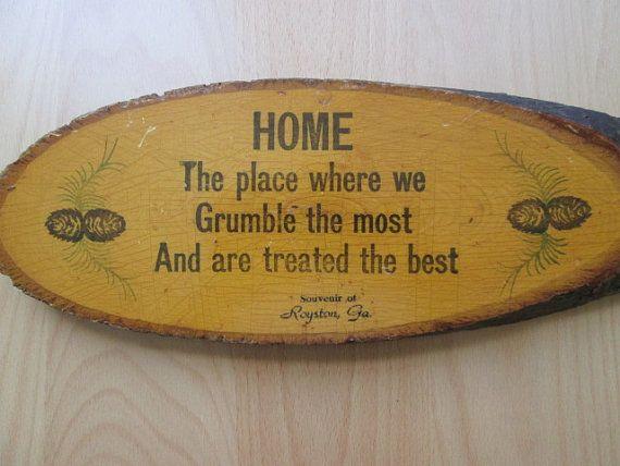 Vintage Souvenir Tree Slice Plaque, Country Home Decor, Rustic Wall ...