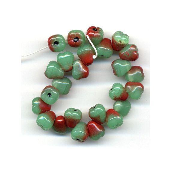 Pear Fruit Glass Beads Color Red Green Czech Cornucopia  Charms Carmen Miranda on Etsy, $3.80