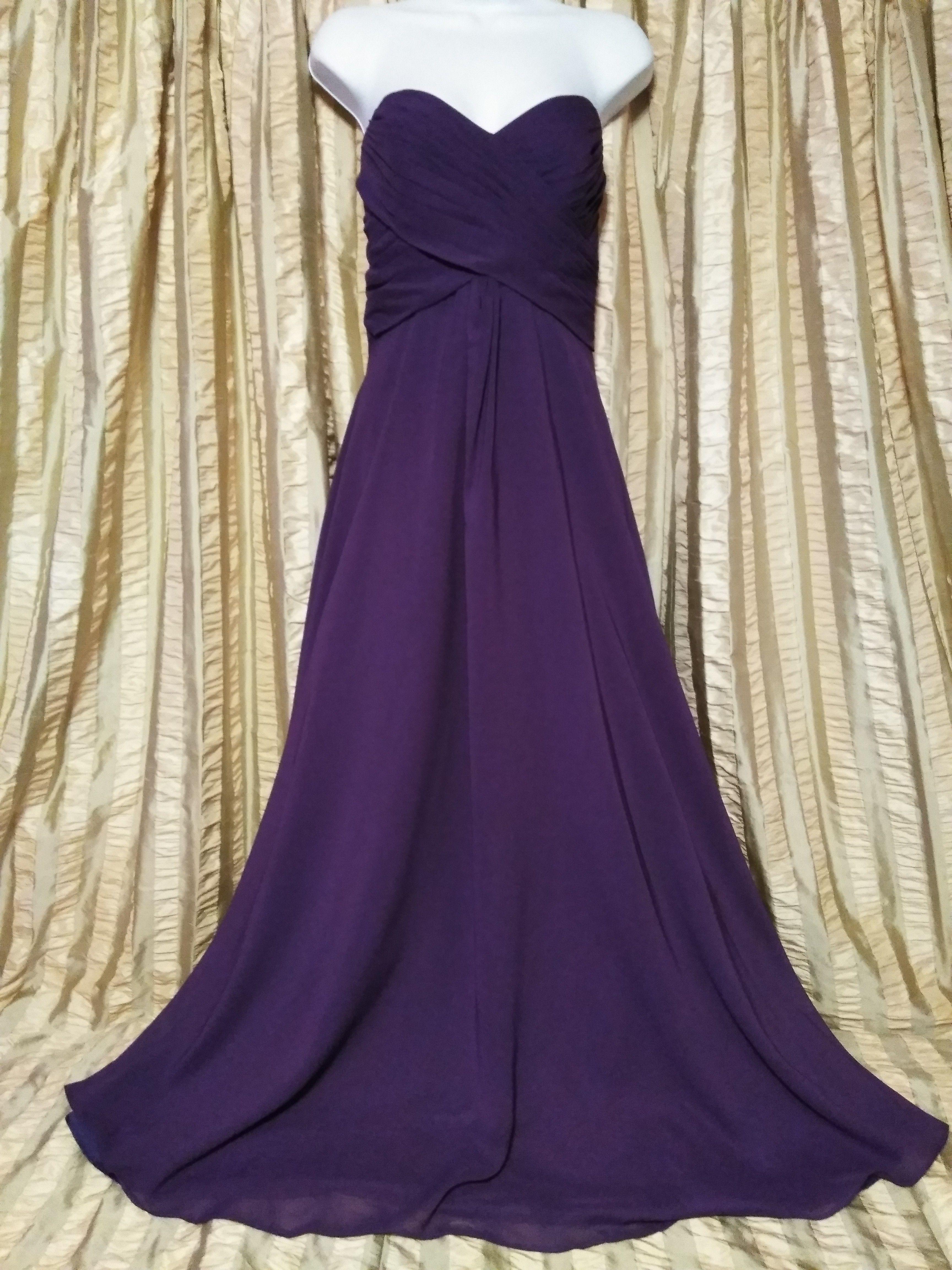 Allure Bridals Formal Purple Strapless Bridesmaid Dress - Size 12 ...
