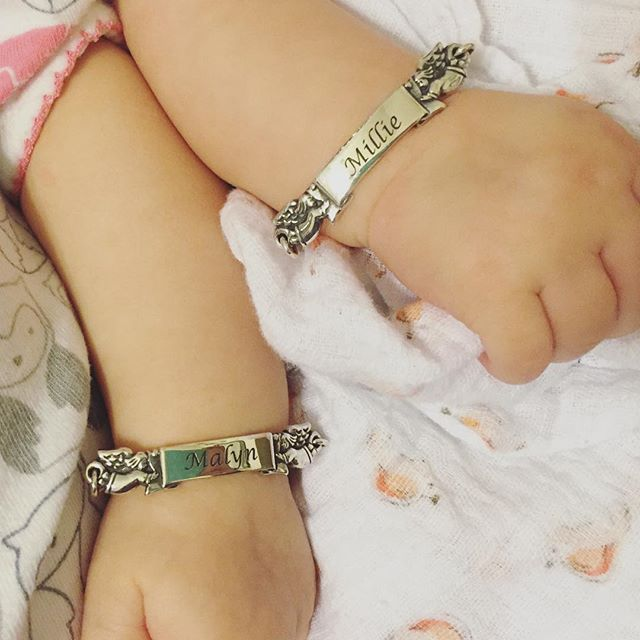 This Is Such A Sweet Customer Photo Of Twins With Engraved Baby S Angel Id Bracelets Jamesavery
