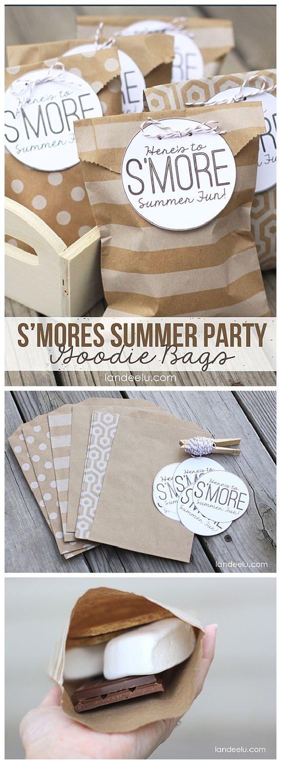 DIY S'Mores Summer Party Goodie Bags!  EASY tutorial and FREE Printable Goodie Bag Tags from Landeelu.com