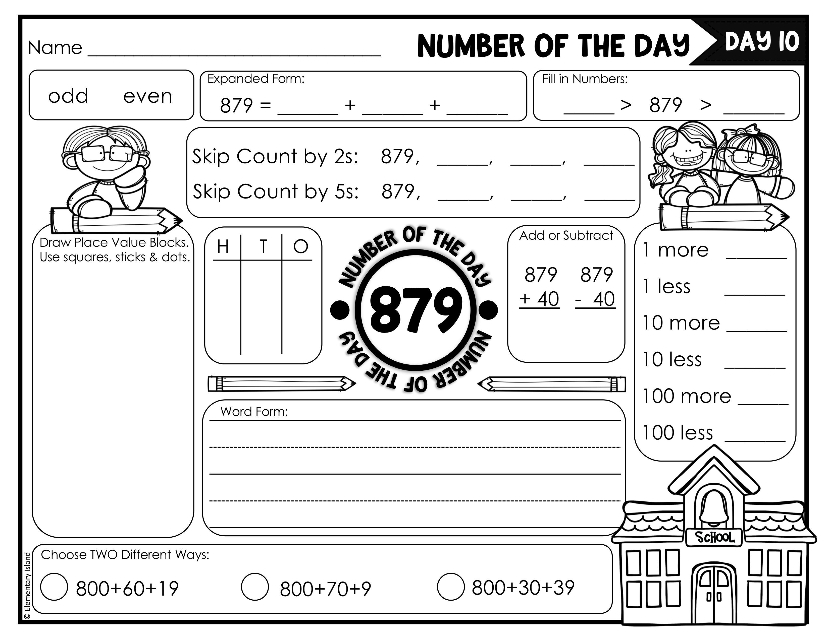 3 Digit Number Of The Day Worksheets