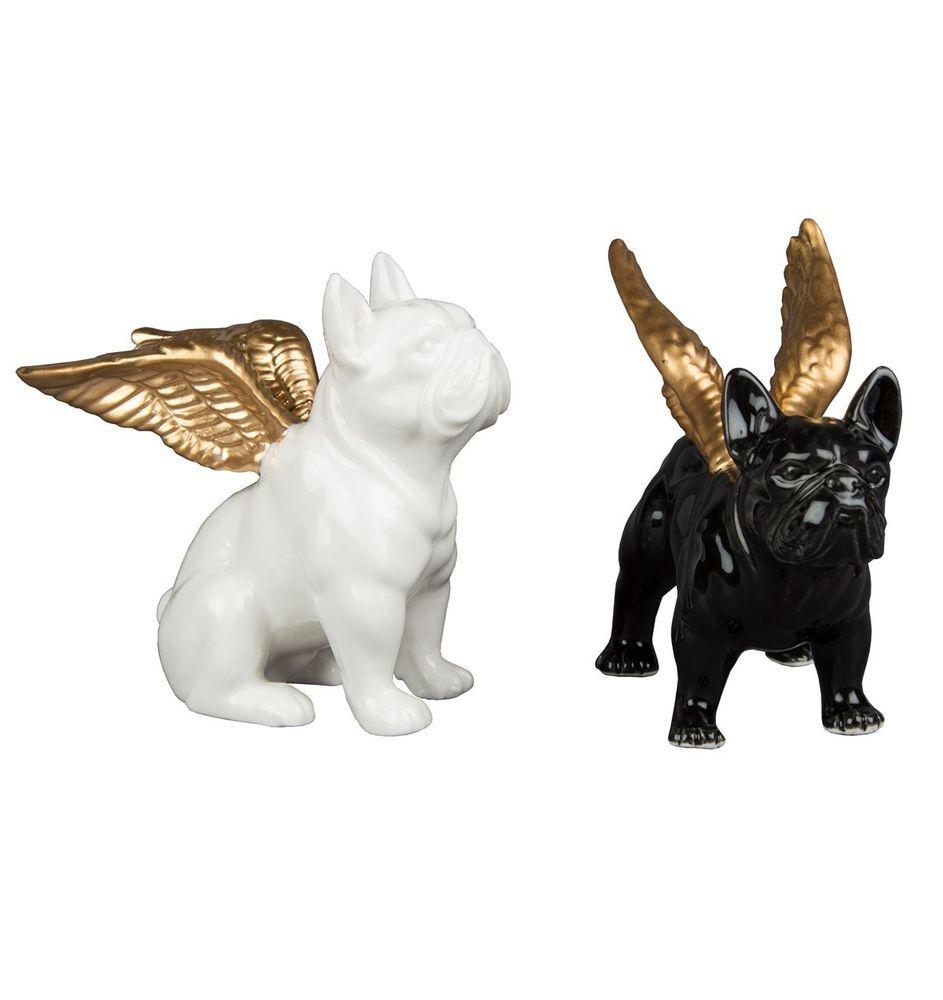 Bulldog With Wings Black White Ornament Statue Figure Ceramic Dog