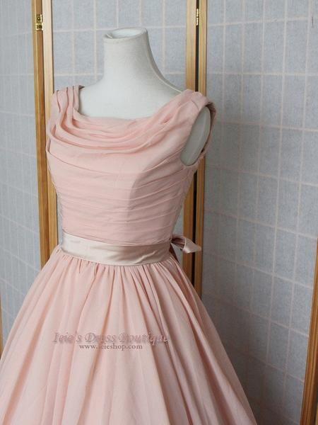 Vintage 50s Peach Formal Prom Dress