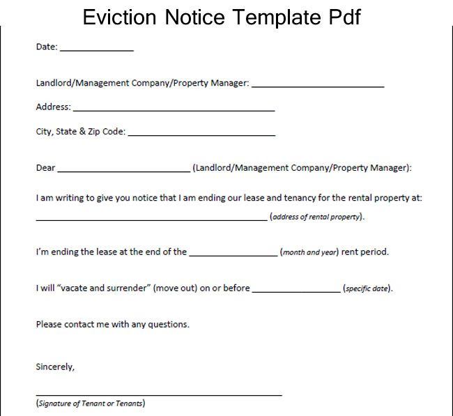 Sample Eviction Notice Template Pdf Excelabout Pinterest - eviction notice template free