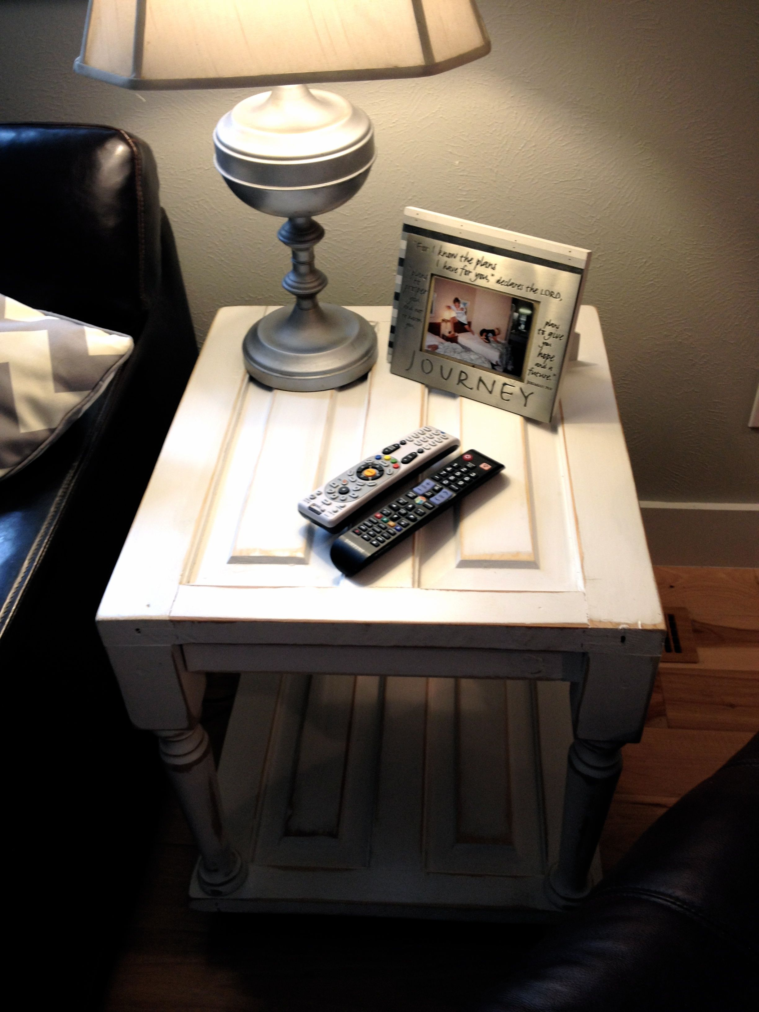 Up Cycled End Table Mage From Salvaged Door Cut In Half For A Shelf On Bottom Junk Chic 5280