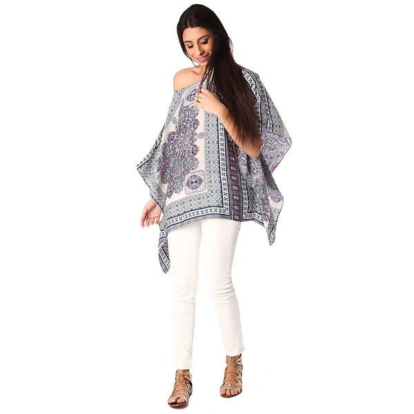 Grey sateen poncho top in paisley print - tulipsandbluebells - 2