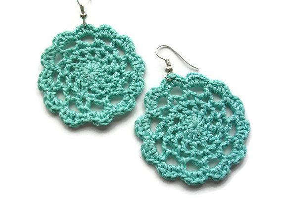 Bohemian Lace Crocheted Earrings//Handmade by LindsayStreemDesigns