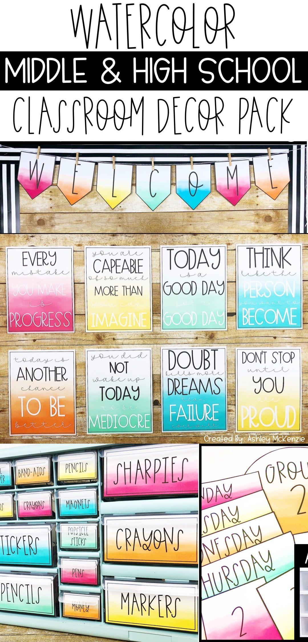 Classroom Decor Bundles ~ Watercolor decor bundle editable ashley mckenzie tpt