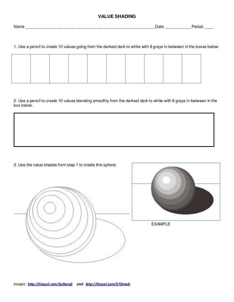 value shading worksheet by ksumatarted via slideshare art lessons for middle school. Black Bedroom Furniture Sets. Home Design Ideas