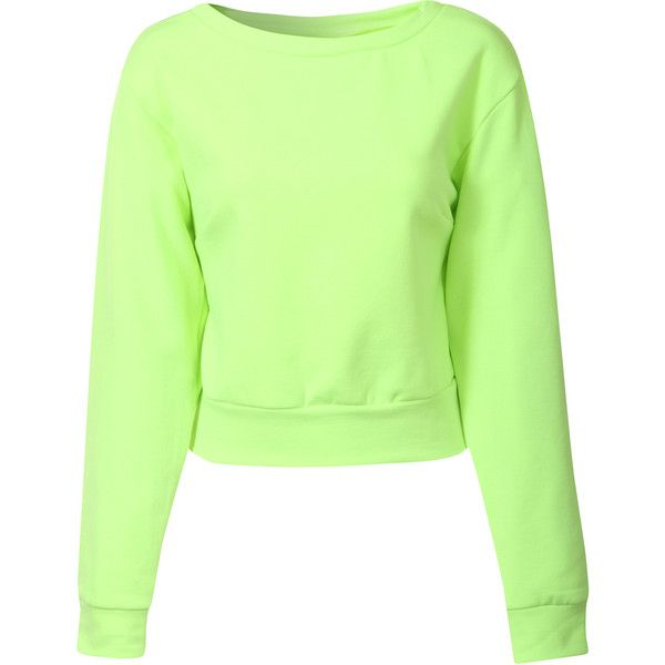 6d1c6e5651c Neon Lime Cropped Sweatshirt ($16) ❤ liked on Polyvore featuring ...