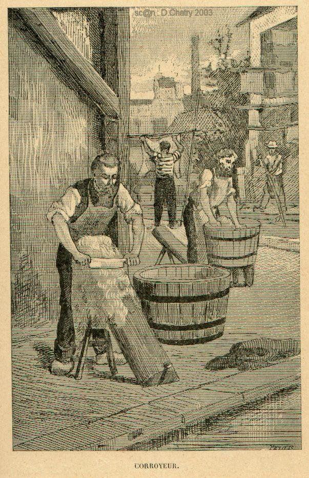 Corroyeur ; Artisan qui transforme la peau travaillée par les Tanneurs en cuir pour lui donner les façons nécessaires d'être en état de servir aux Cordonniers, Selliers, Carrossiers, Bourreliers, Malletiers, Gaîniers ou Relieurs.
