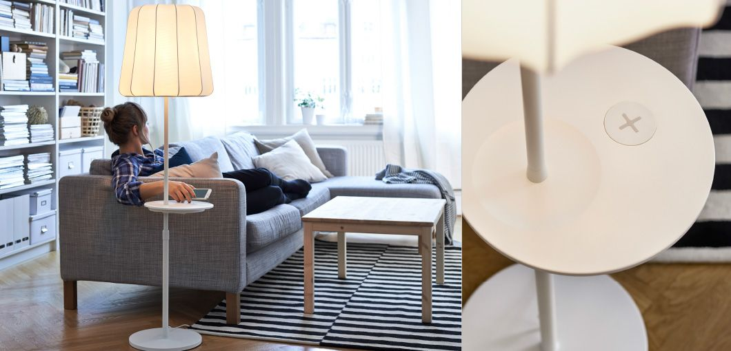 A Floor Lamp With Wireless Charging Shown Next To The Sofa And A Close Up Of A Floor Lamp With Wireless Charging Living Room Lighting Living Room Room Lights