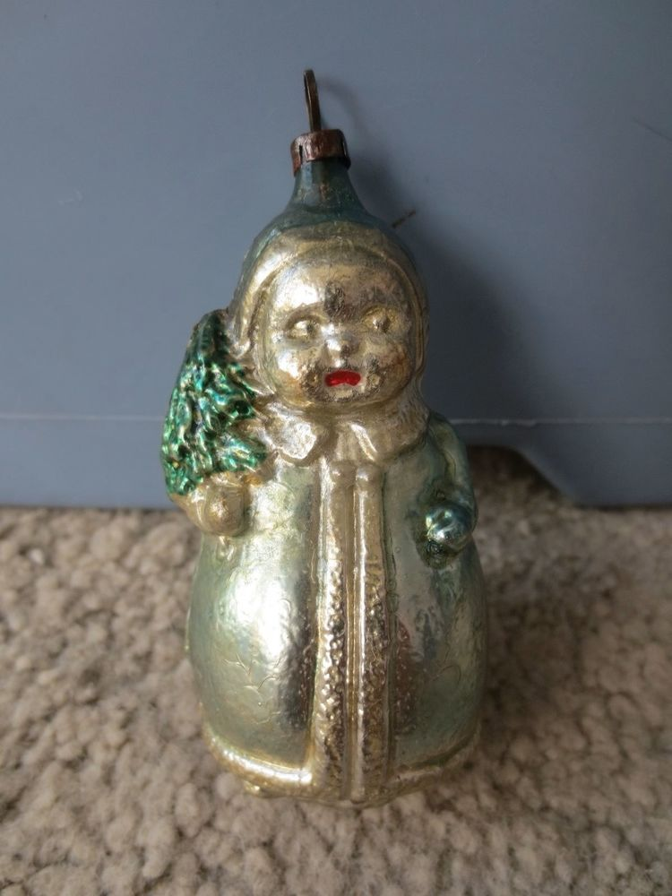 Antique Blown Glass Figural Child With Tree | eBay | Christmas ...